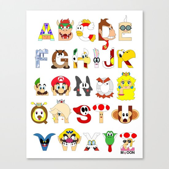 Super Mario Alphabet Canvas Print