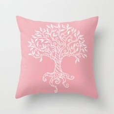 Tree of Life Pink Throw Pillow