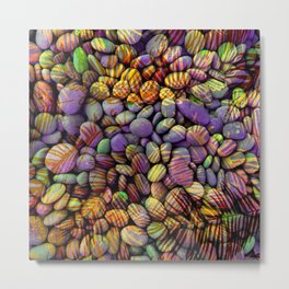 Stones and Palms - Ultraviolet Metal Print