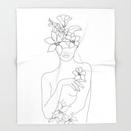 Minimal Line Art Woman with Flowers IV Decke