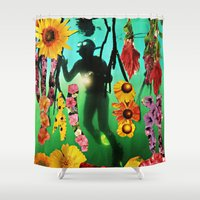 diver Shower Curtains featuring The Diver by Cut Out Copy by Barbee Hauzinger