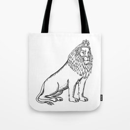 Etching style illustration of a blue male lion with red mane wearing a tiara or crown sitting down d Tote Bag