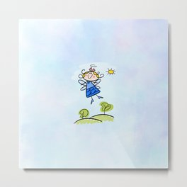 Happy Flying Angel Illustration Metal Print