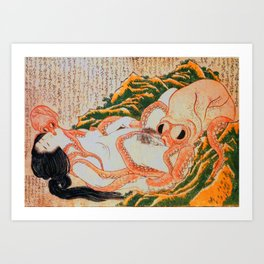 Dream of the Fisherman's Wife Hokusai Shunga Erotic Sex Pictures Japan Art Print