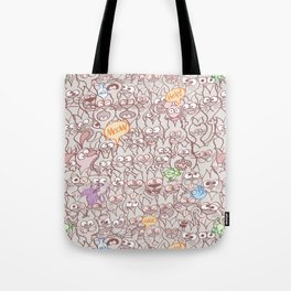 Seamless pattern world crowded with funny cats Tote Bag