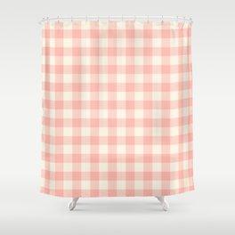 PASTEL GINGHAM 02, blush pink squares Shower Curtain