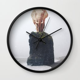 No Way Down, Elephant at Iceland Black Sand Beach-Animals and Nature Wall Clock