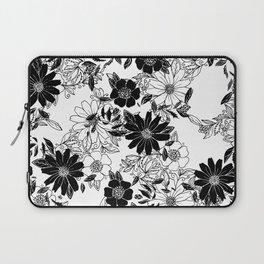 Modern black white hand drawn floral illustration Laptop Sleeve