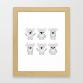 Funny cute koala set on white background Framed Art Print