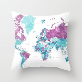 """Purple and turquoise watercolor world map with cities, """"Blair"""" Throw Pillow"""