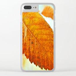 Orange Leaf Clear iPhone Case