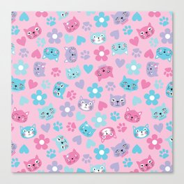 Kitty Cat Pattern by Everett Co Canvas Print