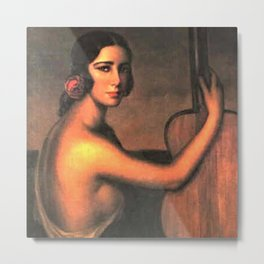 Classical Masterpiece 'A Manola with Her Guitar' by Julio Romero De Torres Metal Print