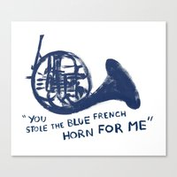 how i met your mother Canvas Prints featuring How I Met Your Mother - Blue French Horn by Victoria Schiariti