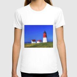 Point Judith Lighthouse, Narragansett, Rhode Island landscape nautical painting T-shirt