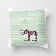 Mammoth and the birds Throw Pillow