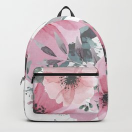 Floral Watercolor, Pink and Gray, Watercolor Print Backpack
