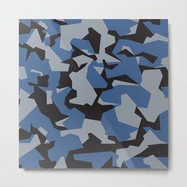 Camouflage Splinter Pattern Blue Metal Print