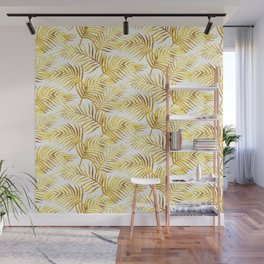 Palm Leaves_Gold and White Wall Mural