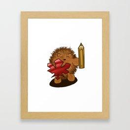 Hedgehog Knight with Leaf Shield and Pencil Sword Framed Art Print