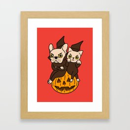 Cute Frenchie and kitten are Halloween buddies Framed Art Print