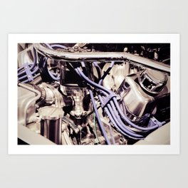 Car Motor Silver and Purple Art Print