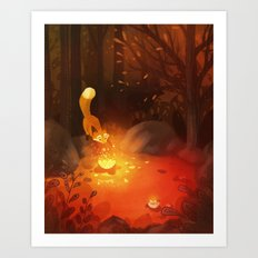 Fox and the Flower Art Print