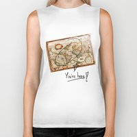 vintage map Biker Tanks featuring Vintage Map by Diego Tirigall