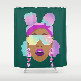 Top Puffs Girl #naturalhair #rainbowhair #shades #lipstick #blackunicorn #curlygirl Shower Curtain