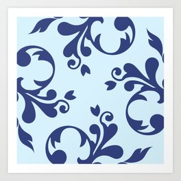 French Damask, Ornaments, Swirls - Blue Art Print
