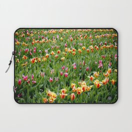 Long View of a Field of Multicolored Tulips in Amsterdam, Netherlands Laptop Sleeve