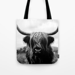 Scottish Highland Cattle Black and White Animal Tote Bag