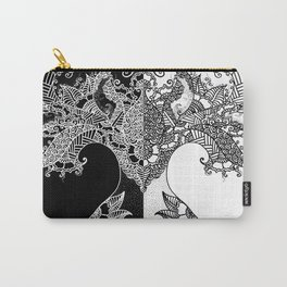 Unity of Halves - Life Tree - Rebirth - Black White Carry-All Pouch