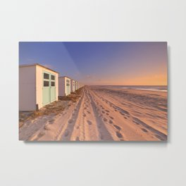 Row of beach huts at sunset, Texel island, The Netherlands Metal Print