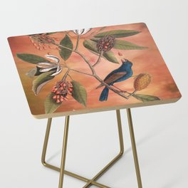 Blue Grosbeak with Sweetbay Magnolia, Vintage Natural History and Botanical Side Table