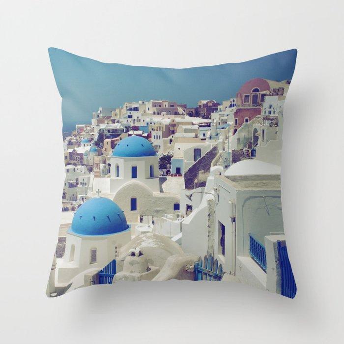 Blue Domes, Oia, Santorini, Greece Throw Pillow