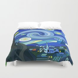 Tardis Art Starry Night Duvet Cover