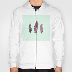 watercolor feathers (mint green) dos Hoody