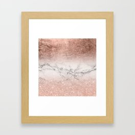 Modern faux rose gold glitter and foil ombre gradient on white marble color block Framed Art Print