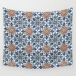 Iznik Tile Pattern Red Blue White Wall Tapestry