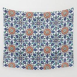 Iznik Tile Pattern Red Blue White Wall Tapestry