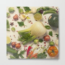 Healthy eating background / studio photography of organic vegetables  on white backdrop Metal Print