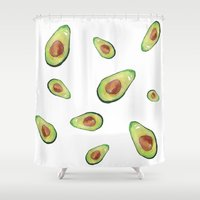 avocado Shower Curtains featuring Avocado crazy! by Binkfloyd