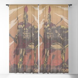Spartan Warrior Triumphs Over His Enemies Sheer Curtain
