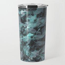 Green and White Ink on Black Background Travel Mug