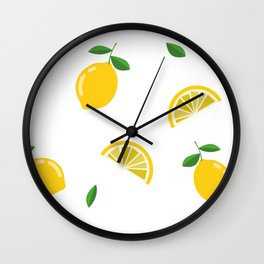 Lemon Lemons Pattern Wall Clock