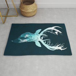 Deer Blue Winter Rug