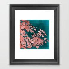 Leaves Silhouette - Turqoise Geometric Framed Art Print