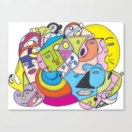 Talk Talk ,Sleepy, and Moonface Graffiti  Canvas Print