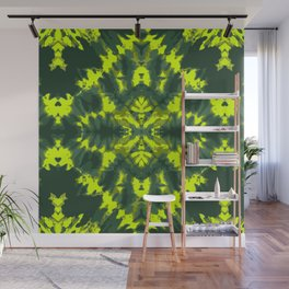Neon green Shibori style design large scale Wall Mural